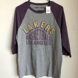 Junkfood sz M Lakers ¾ sleeve t-shirt 100% cotton